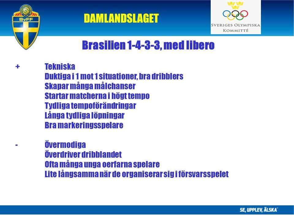 DAMLANDSLAGET Brasilien 1-4-3-3, med libero +Tekniska Duktiga i 1 mot 1 situationer, bra dribblers Skapar många målchanser Startar matcherna i högt tempo Tydliga tempoförändringar Långa tydliga löpningar Bra markeringsspelare -Övermodiga Överdriver dribblandet Ofta många unga oerfarna spelare Lite långsamma när de organiserar sig i försvarsspelet