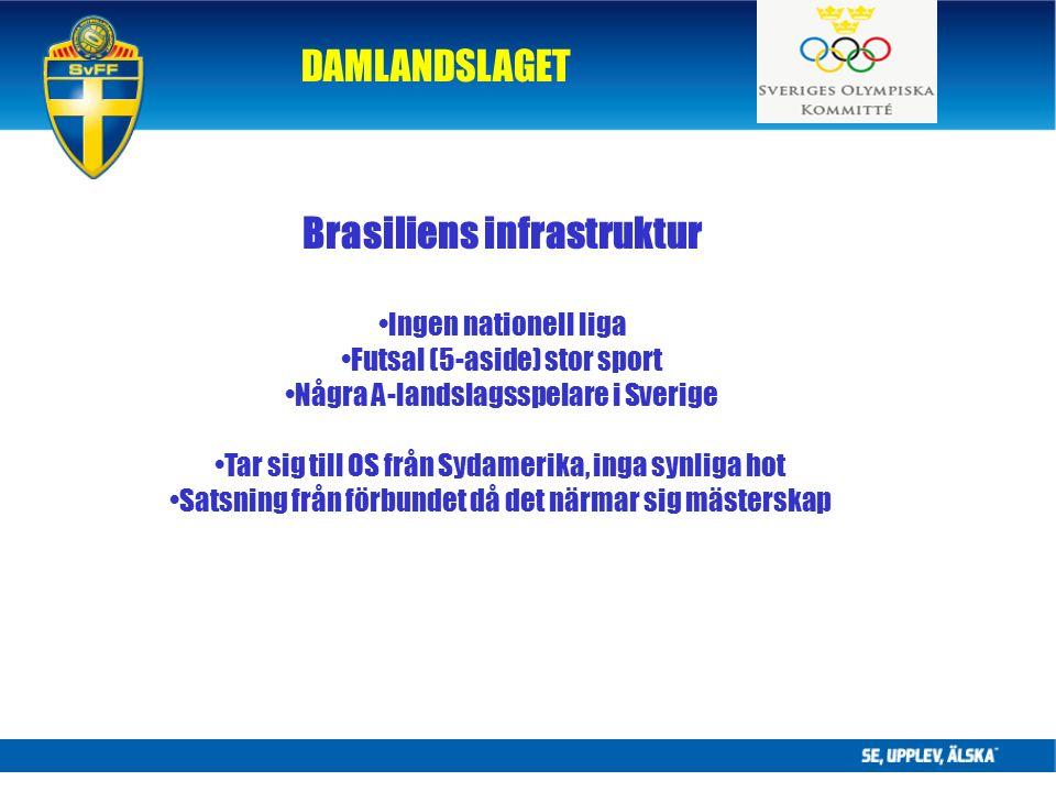DAMLANDSLAGET Brasiliens infrastruktur Ingen nationell liga Futsal (5-aside) stor sport Några A-landslagsspelare i Sverige Tar sig till OS från Sydamerika, inga synliga hot Satsning från förbundet då det närmar sig mästerskap