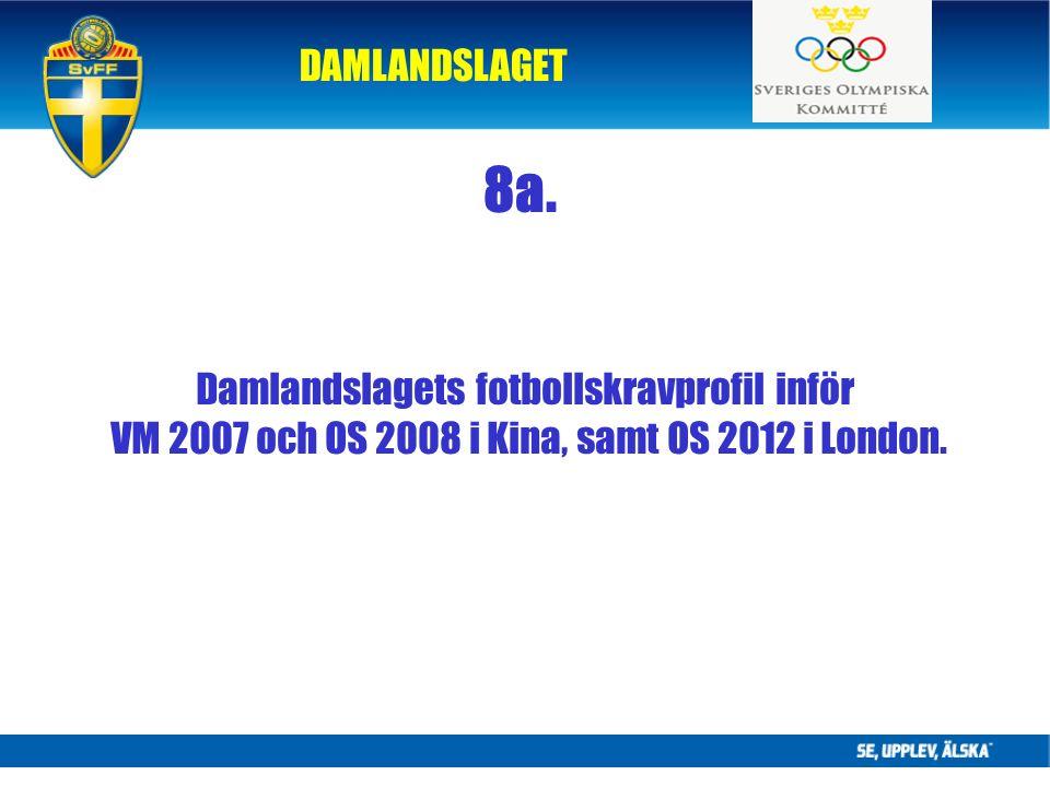 DAMLANDSLAGET Damlandslagets fotbollskravprofil inför VM 2007 och OS 2008 i Kina, samt OS 2012 i London.