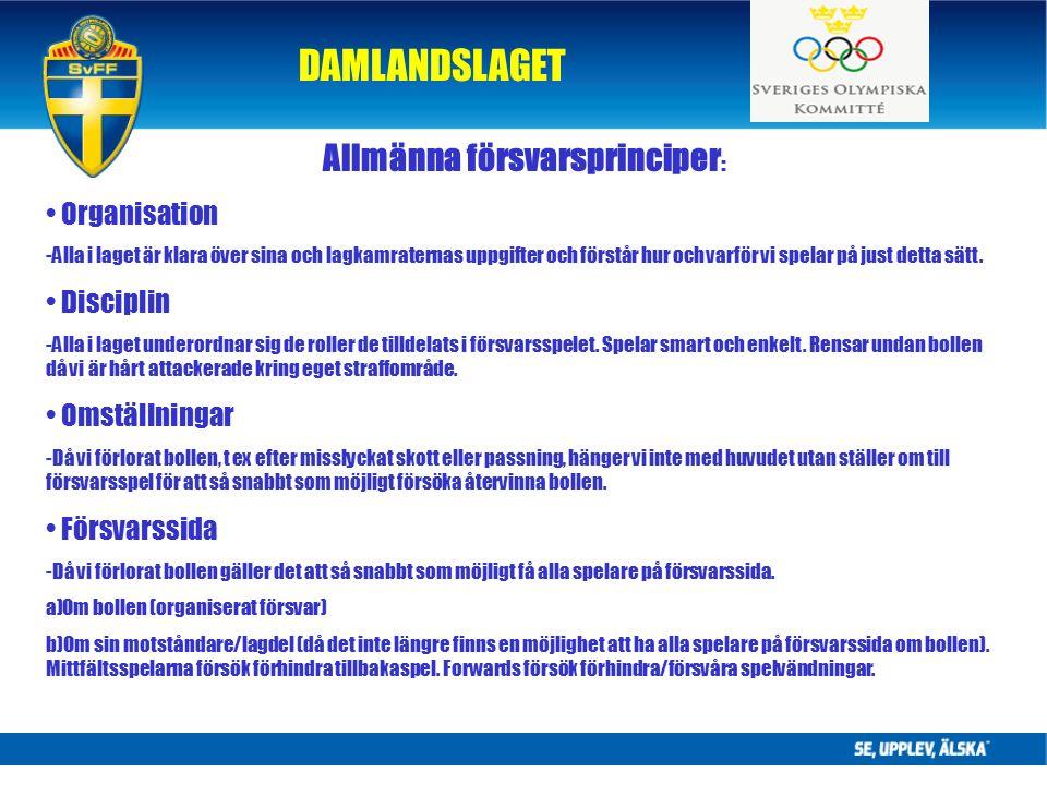 DAMLANDSLAGET Allmänna försvarsprinciper : Organisation -Alla i laget är klara över sina och lagkamraternas uppgifter och förstår hur och varför vi spelar på just detta sätt.