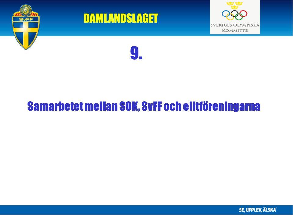 DAMLANDSLAGET 9. Samarbetet mellan SOK, SvFF och elitföreningarna