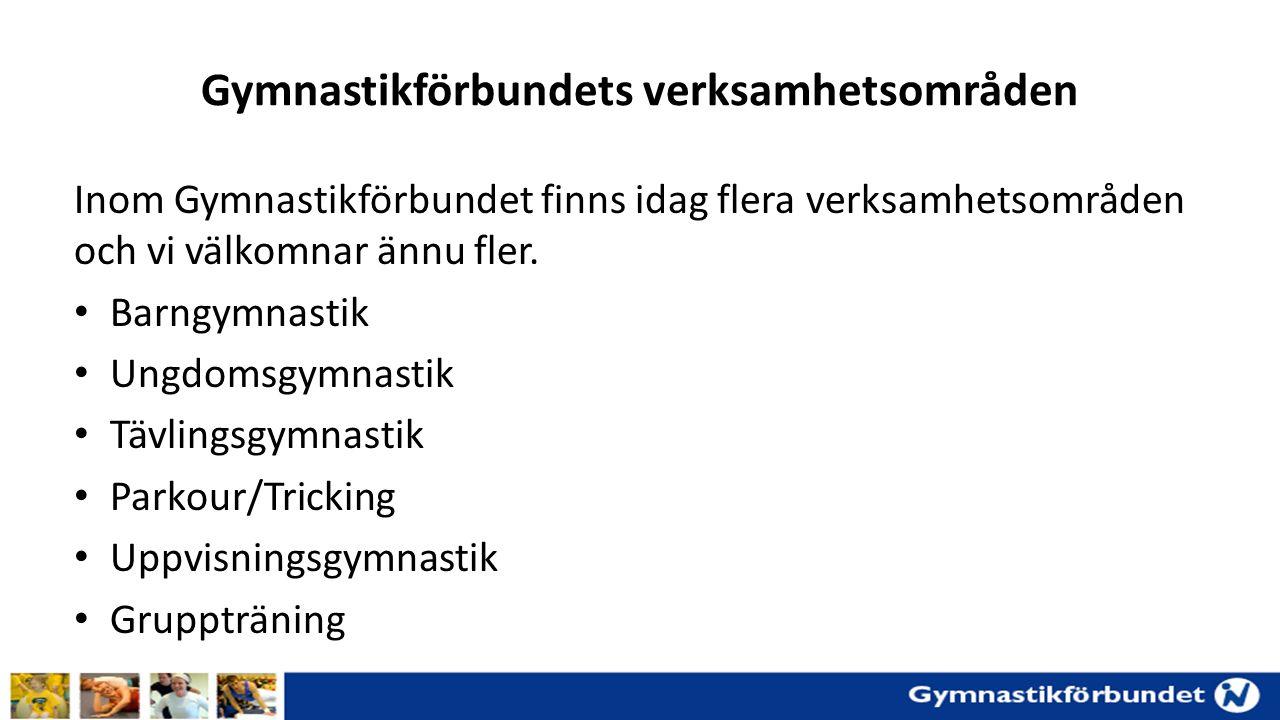 Gymnastikförbundets verksamhetsområden Inom Gymnastikförbundet finns idag flera verksamhetsområden och vi välkomnar ännu fler.