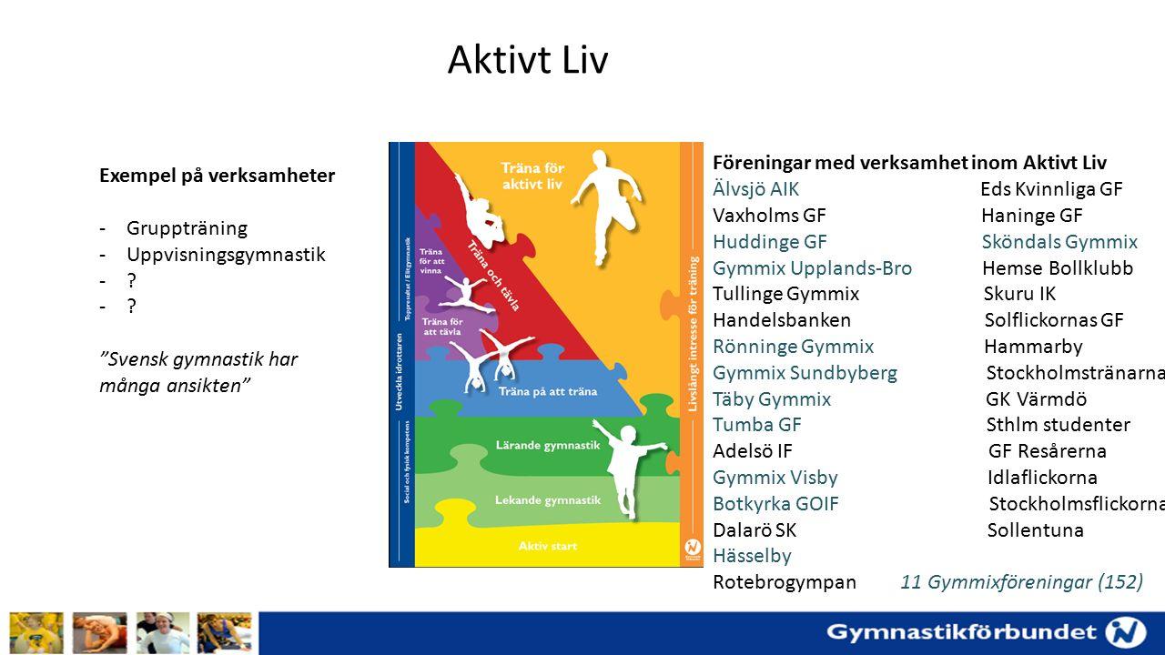 Diskussion (Aktivt Liv) 4 grupper Föreningar med ett varierat utbud av gruppträning Föreningar som har vuxengympa/gympafys Föreningar som inte har verksamhet inom Aktivt Liv Föreningar som har uppvisningsgymnastik/estetisk verksamhet Utmaningar Möjligheter