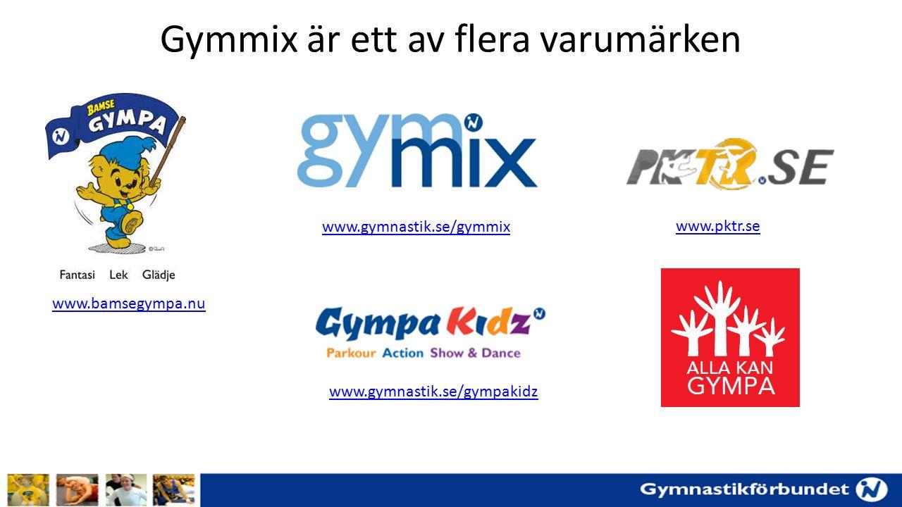 Gymmix är ett av flera varumärken www.bamsegympa.nu www.gymnastik.se/gymmix www.pktr.se www.gymnastik.se/gympakidz