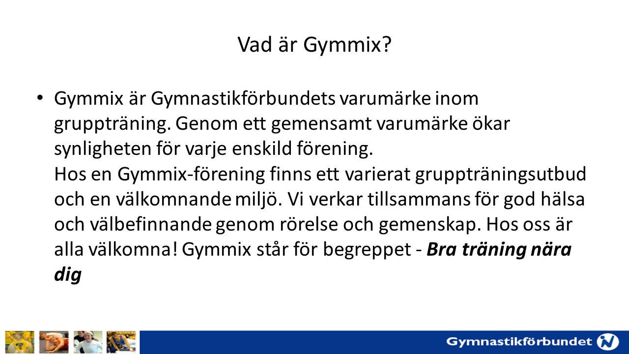 Vad är Gymmix. Gymmix är Gymnastikförbundets varumärke inom gruppträning.