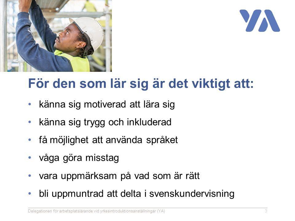 För den som lär sig är det viktigt att: känna sig motiverad att lära sig känna sig trygg och inkluderad få möjlighet att använda språket våga göra misstag vara uppmärksam på vad som är rätt bli uppmuntrad att delta i svenskundervisning Delegationen för arbetsplatslärande vid yrkesintroduktionsanställningar (YA)3