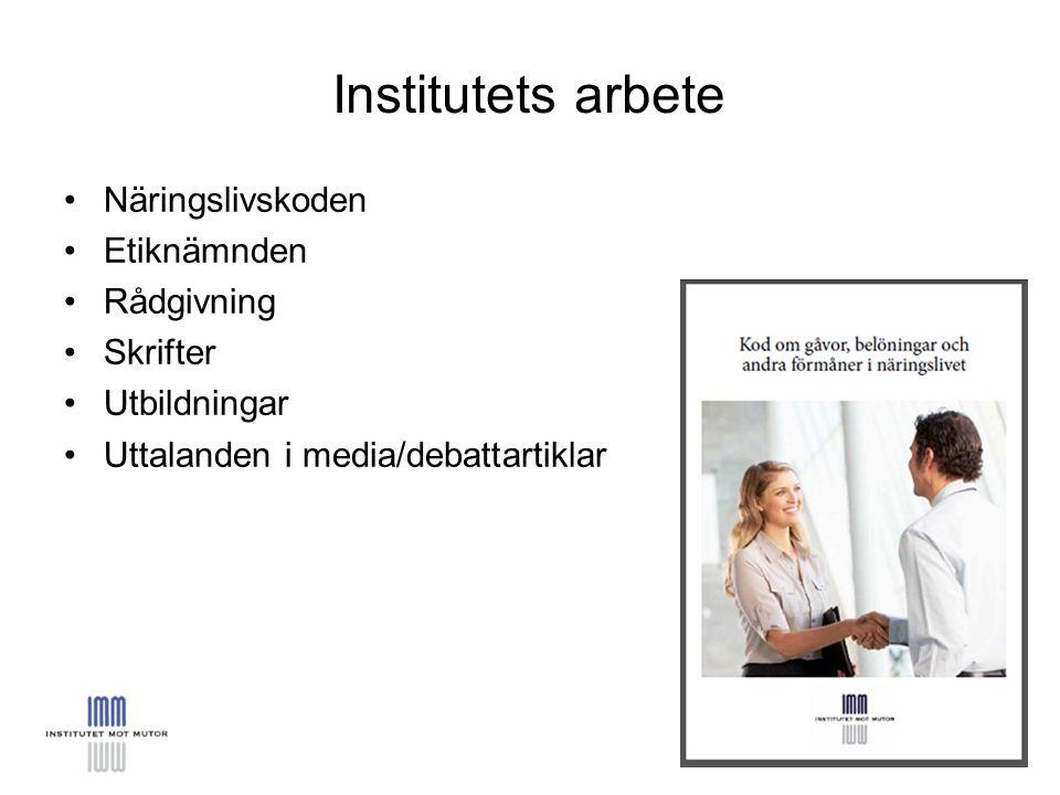 Näringslivskoden Etiknämnden Rådgivning Skrifter Utbildningar Uttalanden i media/debattartiklar Institutets arbete