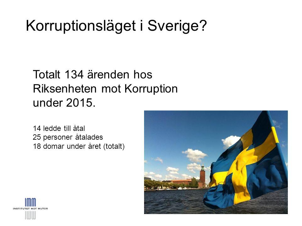 Korruptionsläget i Sverige. Totalt 134 ärenden hos Riksenheten mot Korruption under 2015.