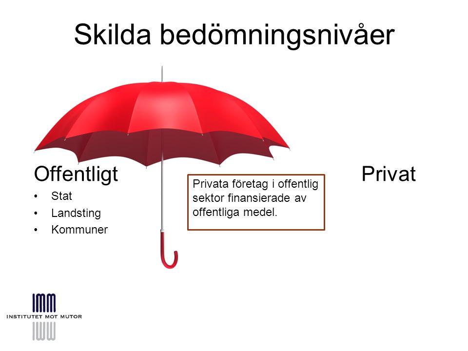 Skilda bedömningsnivåer OffentligtPrivat Stat Landsting Kommuner Privata företag i offentlig sektor finansierade av offentliga medel.