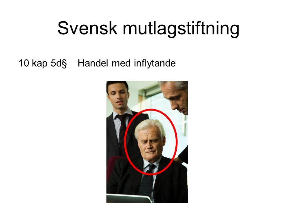 Svensk mutlagstiftning 10 kap 5d§Handel med inflytande