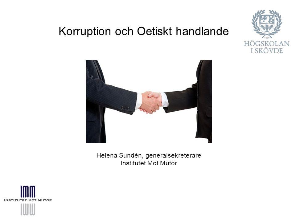 Helena Sundén, generalsekreterare Institutet Mot Mutor Korruption och Oetiskt handlande