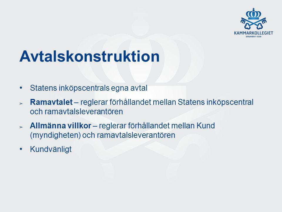 Avtalskonstruktion Statens inköpscentrals egna avtal ➢ Ramavtalet – reglerar förhållandet mellan Statens inköpscentral och ramavtalsleverantören ➢ Allmänna villkor – reglerar förhållandet mellan Kund (myndigheten) och ramavtalsleverantören Kundvänligt