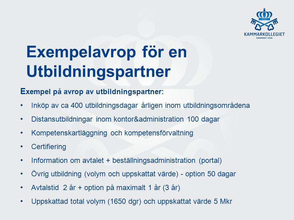 Exempelavrop för en Utbildningspartner E xempel på avrop av utbildningspartner: Inköp av ca 400 utbildningsdagar årligen inom utbildningsområdena Distansutbildningar inom kontor&administration 100 dagar Kompetenskartläggning och kompetensförvaltning Certifiering Information om avtalet + beställningsadministration (portal) Övrig utbildning (volym och uppskattat värde) - option 50 dagar Avtalstid 2 år + option på maximalt 1 år (3 år) Uppskattad total volym (1650 dgr) och uppskattat värde 5 Mkr