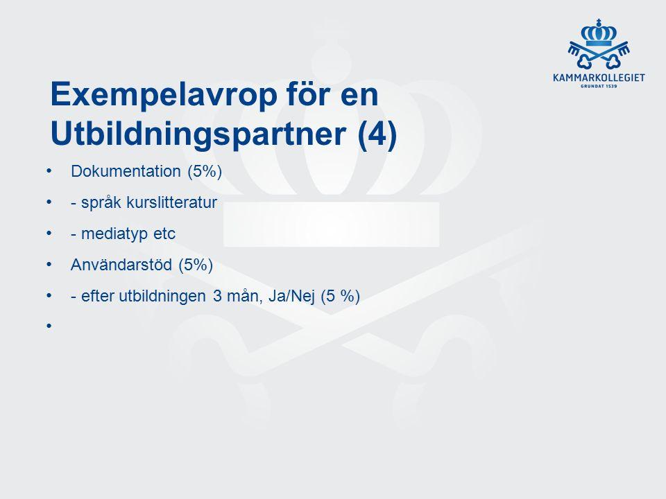 Exempelavrop för en Utbildningspartner (4) Dokumentation (5%) - språk kurslitteratur - mediatyp etc Användarstöd (5%) - efter utbildningen 3 mån, Ja/Nej (5 %)