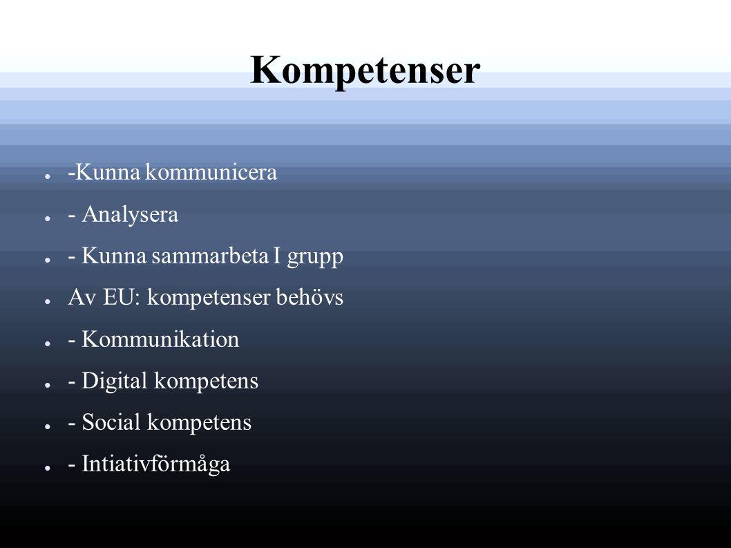 Kompetenser ● -Kunna kommunicera ● - Analysera ● - Kunna sammarbeta I grupp ● Av EU: kompetenser behövs ● - Kommunikation ● - Digital kompetens ● - Social kompetens ● - Intiativförmåga