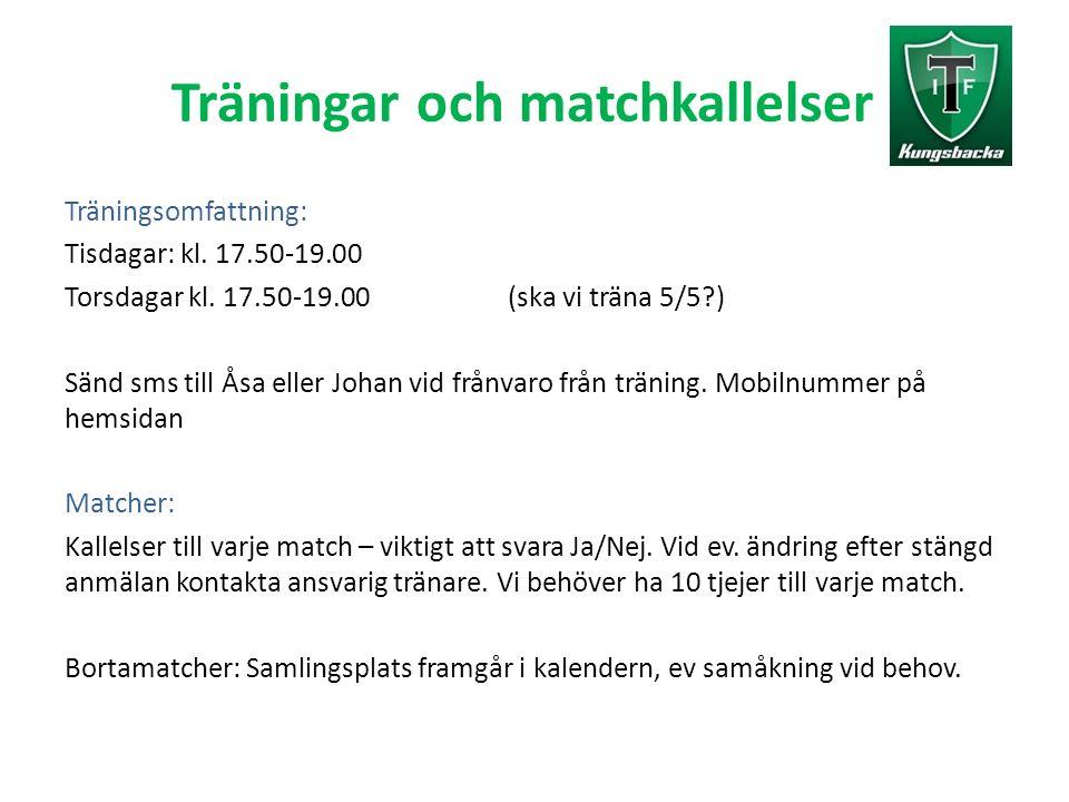 Träningar och matchkallelser Träningsomfattning: Tisdagar: kl. 17.50-19.00 Torsdagar kl. 17.50-19.00 (ska vi träna 5/5?) Sänd sms till Åsa eller Johan