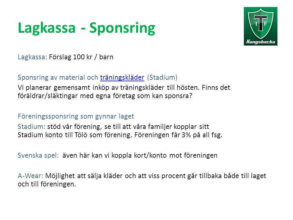Lagkassa - Sponsring Lagkassa: Förslag 100 kr / barn Sponsring av material och träningskläder (Stadium)träningskläder Vi planerar gemensamt inköp av träningskläder till hösten.
