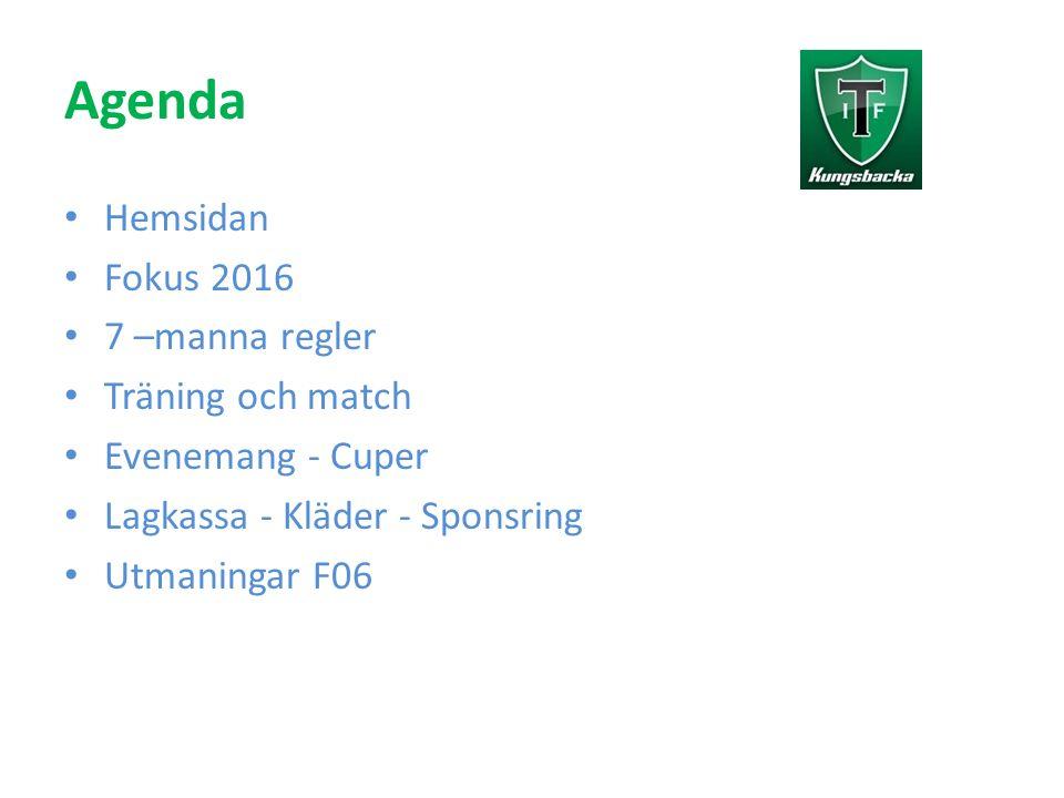 Agenda Hemsidan Fokus 2016 7 –manna regler Träning och match Evenemang - Cuper Lagkassa - Kläder - Sponsring Utmaningar F06