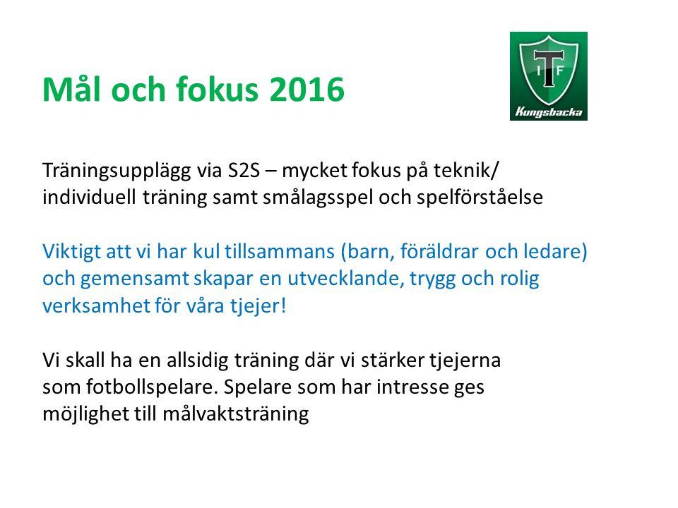 Mål och fokus 2016 Träningsupplägg via S2S – mycket fokus på teknik/ individuell träning samt smålagsspel och spelförståelse Viktigt att vi har kul ti