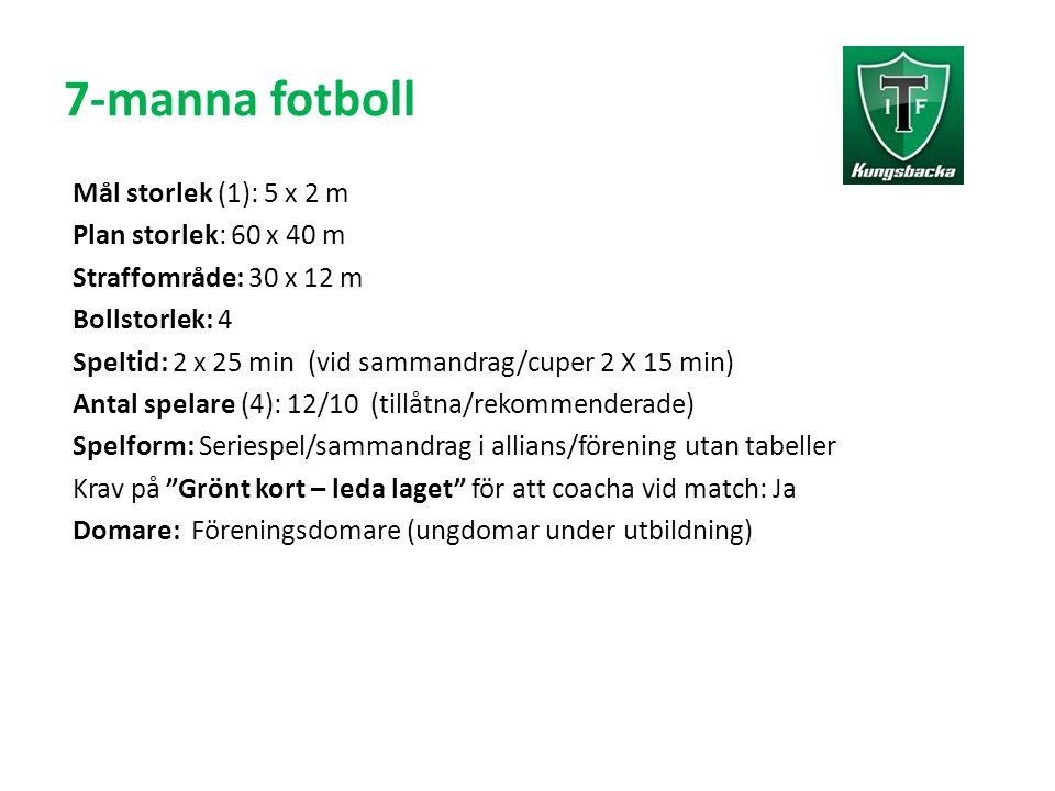 7-manna fotboll Mål storlek (1): 5 x 2 m Plan storlek: 60 x 40 m Straffområde: 30 x 12 m Bollstorlek: 4 Speltid: 2 x 25 min (vid sammandrag/cuper 2 X 15 min) Antal spelare (4): 12/10 (tillåtna/rekommenderade) Spelform: Seriespel/sammandrag i allians/förening utan tabeller Krav på Grönt kort – leda laget för att coacha vid match: Ja Domare: Föreningsdomare (ungdomar under utbildning)