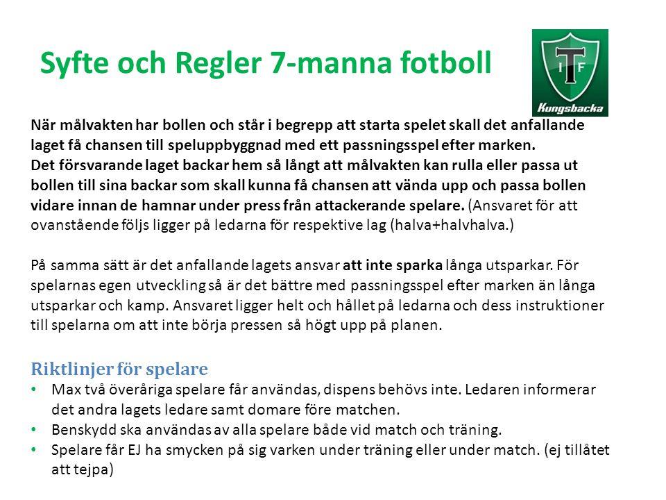 Syfte och Regler 7-manna fotboll När målvakten har bollen och står i begrepp att starta spelet skall det anfallande laget få chansen till speluppbyggnad med ett passningsspel efter marken.