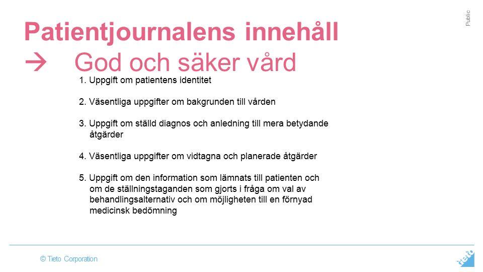 © Tieto Corporation Public Patientjournalens innehåll  God och säker vård 1.