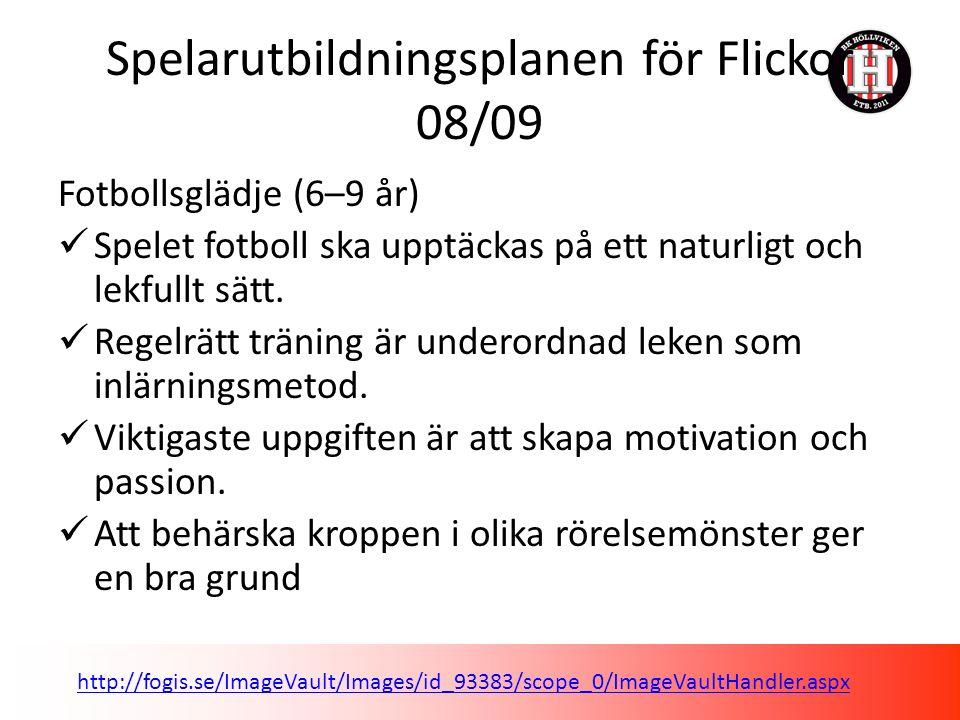Spelarutbildningsplanen för Flickor 08/09 Fotbollsglädje (6–9 år) Spelet fotboll ska upptäckas på ett naturligt och lekfullt sätt.