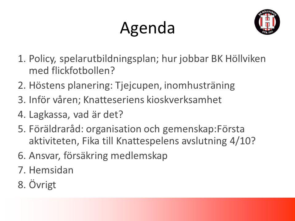 1.Policy, spelarutbildningsplan; hur jobbar BK Höllviken med flickfotbollen.