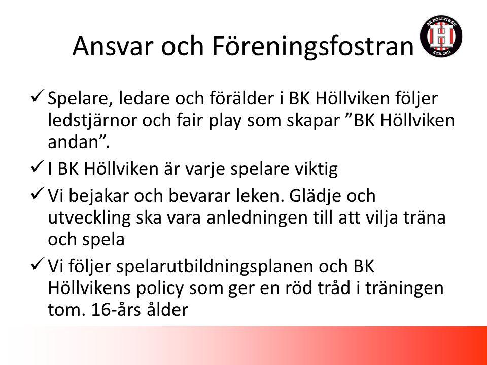 Ansvar och Föreningsfostran Spelare, ledare och förälder i BK Höllviken följer ledstjärnor och fair play som skapar BK Höllviken andan .