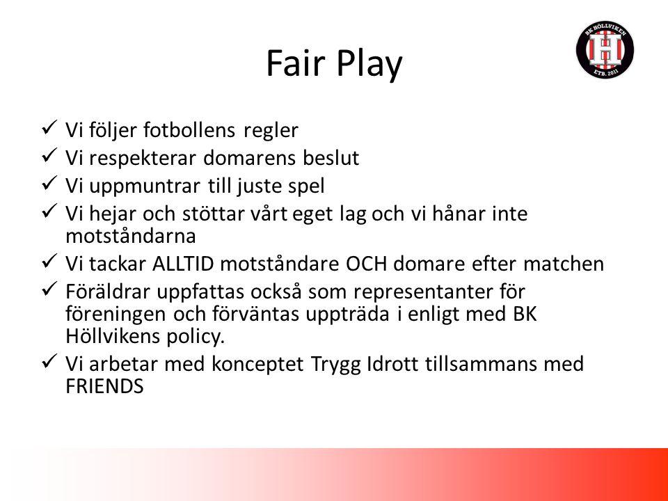 Fair Play Vi följer fotbollens regler Vi respekterar domarens beslut Vi uppmuntrar till juste spel Vi hejar och stöttar vårt eget lag och vi hånar inte motståndarna Vi tackar ALLTID motståndare OCH domare efter matchen Föräldrar uppfattas också som representanter för föreningen och förväntas uppträda i enligt med BK Höllvikens policy.