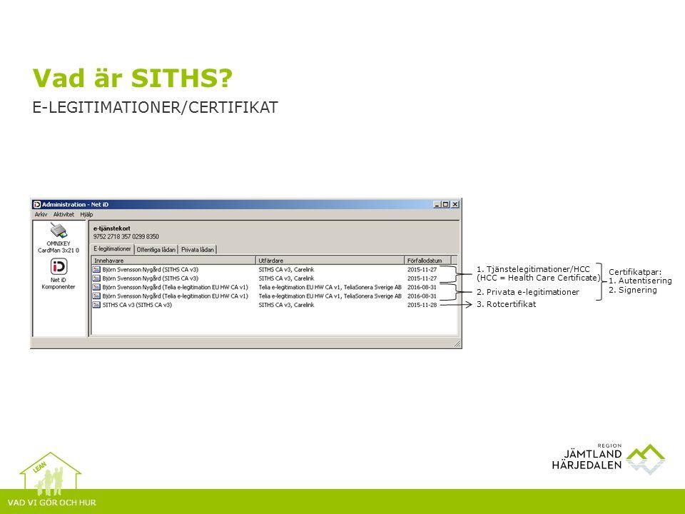 VAD VI GÖR OCH HUR Vad är SITHS. E-LEGITIMATIONER/CERTIFIKAT 1.