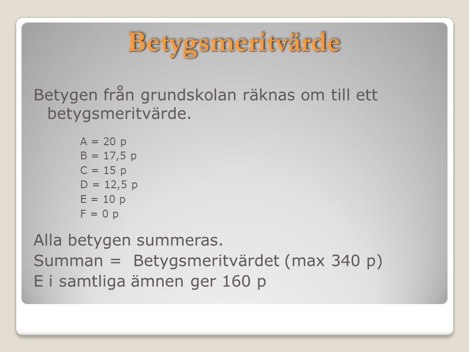 BetygsmeritvärdeBetygsmeritvärde Betygen från grundskolan räknas om till ett betygsmeritvärde. A = 20 p B = 17,5 p C = 15 p D = 12,5 p E = 10 p F = 0