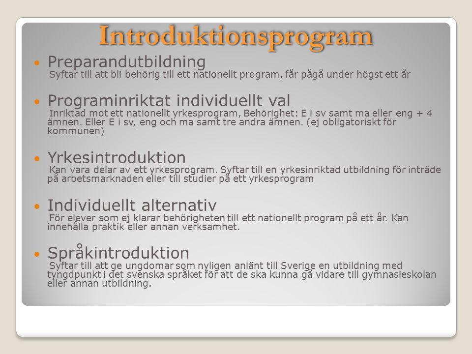 IntroduktionsprogramIntroduktionsprogram Preparandutbildning Syftar till att bli behörig till ett nationellt program, får pågå under högst ett år Programinriktat individuellt val Inriktad mot ett nationellt yrkesprogram, Behörighet: E i sv samt ma eller eng + 4 ämnen.