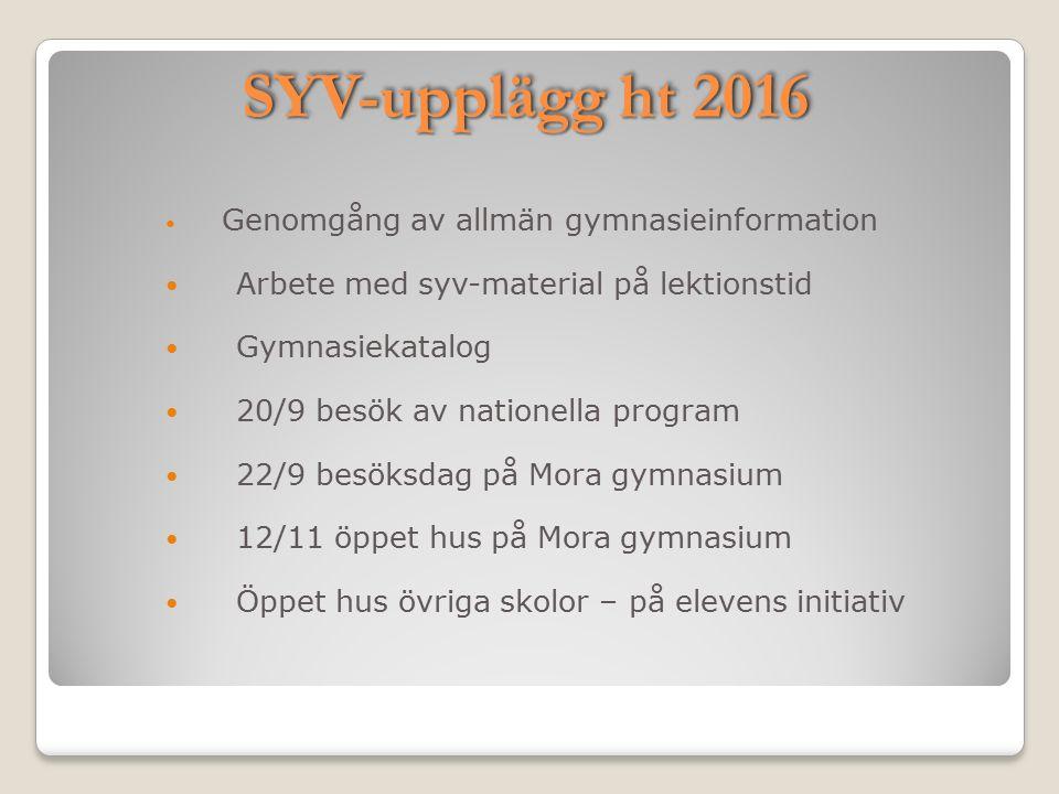 SYV-upplägg ht 2016 Genomgång av allmän gymnasieinformation Arbete med syv-material på lektionstid Gymnasiekatalog 20/9 besök av nationella program 22
