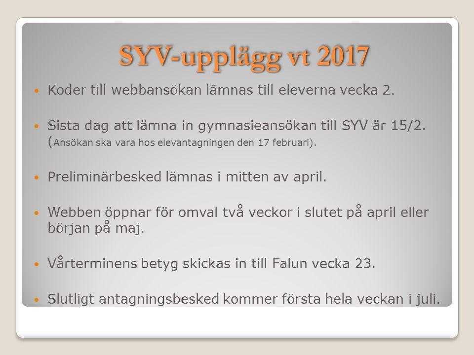 SYV-upplägg vt 2017 Koder till webbansökan lämnas till eleverna vecka 2. Sista dag att lämna in gymnasieansökan till SYV är 15/2. ( Ansökan ska vara h