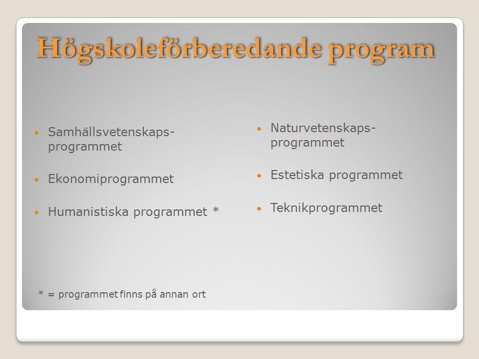 Högskoleförberedande program Samhällsvetenskaps- programmet Ekonomiprogrammet Humanistiska programmet * * = programmet finns på annan ort Naturvetenskaps- programmet Estetiska programmet Teknikprogrammet