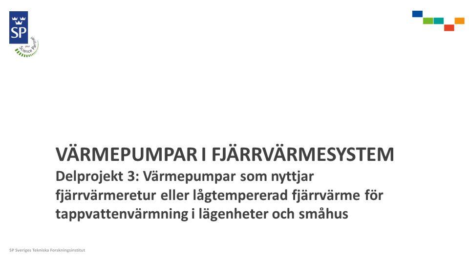 VÄRMEPUMPAR I FJÄRRVÄRMESYSTEM Delprojekt 3: Värmepumpar som nyttjar fjärrvärmeretur eller lågtempererad fjärrvärme för tappvattenvärmning i lägenheter och småhus