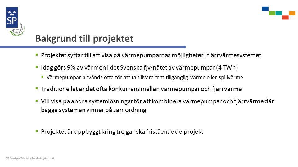 Bakgrund till projektet  Projektet syftar till att visa på värmepumparnas möjligheter i fjärrvärmesystemet  Idag görs 9% av värmen i det Svenska fjv-nätet av värmepumpar (4 TWh)  Värmepumpar används ofta för att ta tillvara fritt tillgänglig värme eller spillvärme  Traditionellet är det ofta konkurrens mellan värmepumpar och fjärrvärme  Vill visa på andra systemlösningar för att kombinera värmepumpar och fjärrvärme där bägge systemen vinner på samordning  Projektet är uppbyggt kring tre ganska fristående delprojekt
