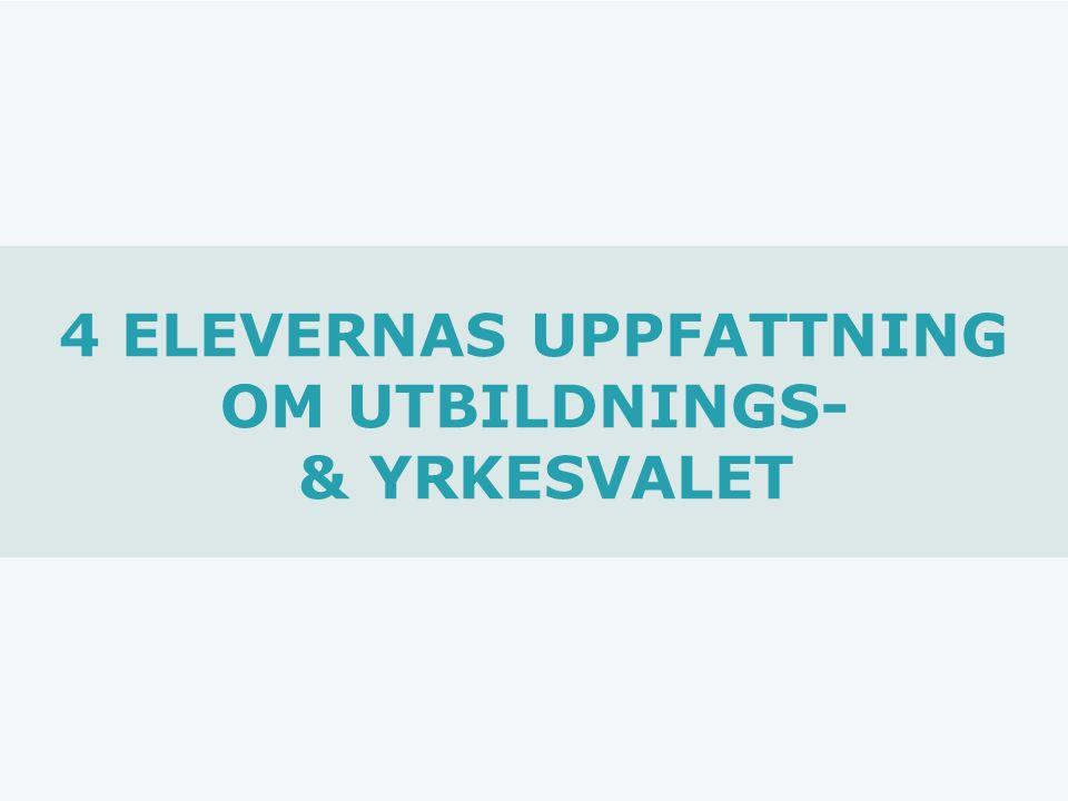 4 ELEVERNAS UPPFATTNING OM UTBILDNINGS- & YRKESVALET