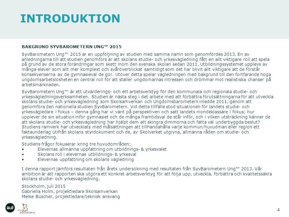 INTRODUKTION 4 BAKGRUND SYVBAROMETERN UNG™ 2015 SyvBarometern Ung™ 2015 är en uppföljning av studien med samma namn som genomfördes 2013.
