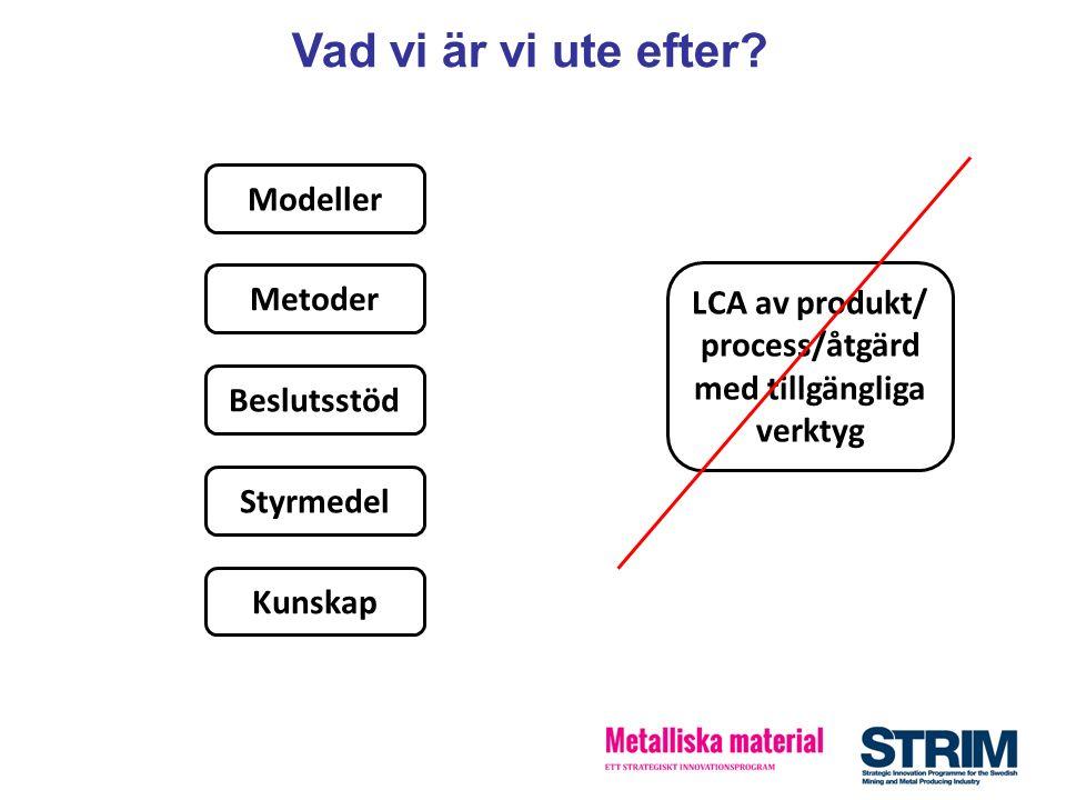 Vad vi är vi ute efter? Modeller Metoder Beslutsstöd Styrmedel Kunskap LCA av produkt/ process/åtgärd med tillgängliga verktyg