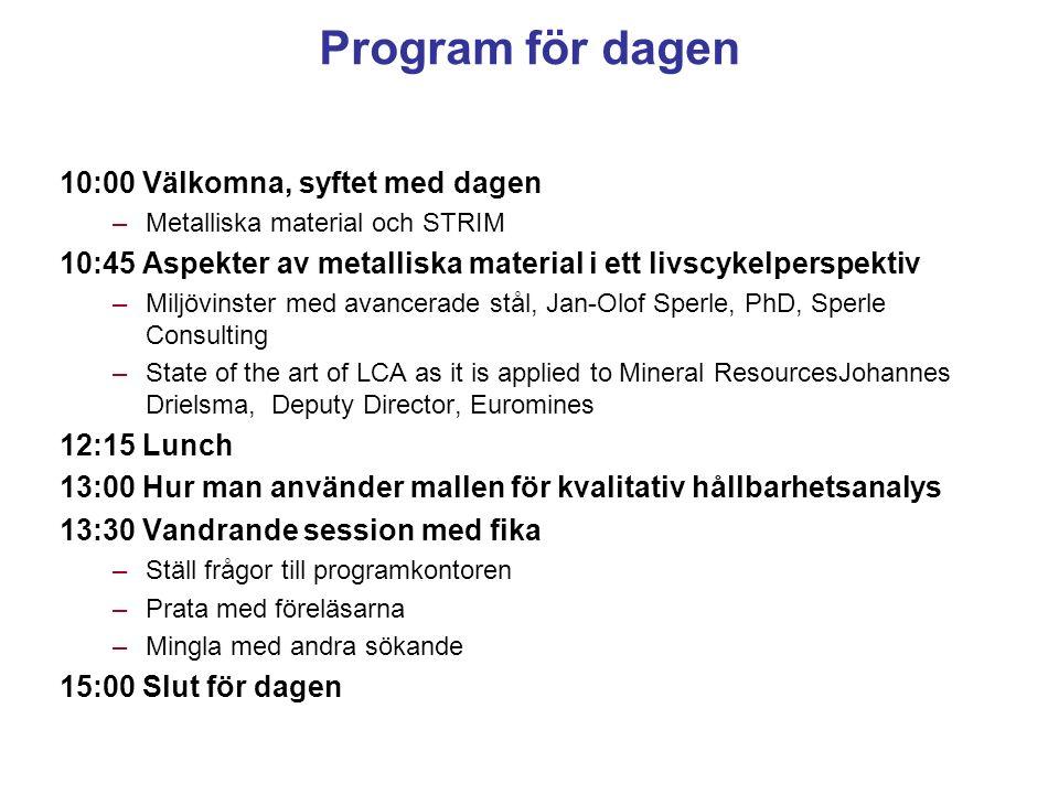 Program för dagen 10:00 Välkomna, syftet med dagen –Metalliska material och STRIM 10:45 Aspekter av metalliska material i ett livscykelperspektiv –Mil