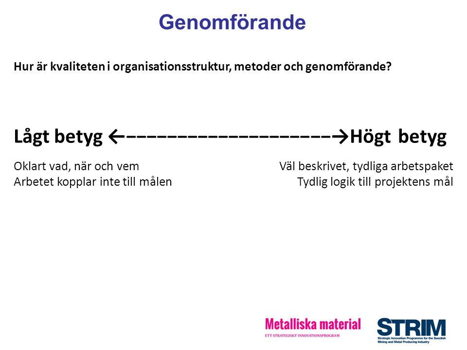 Hur är kvaliteten i organisationsstruktur, metoder och genomförande? Lågt betyg ←−−−−−−−−−−−−−−−−−−−−→Högt betyg Oklart vad, när och vem Arbetet koppl