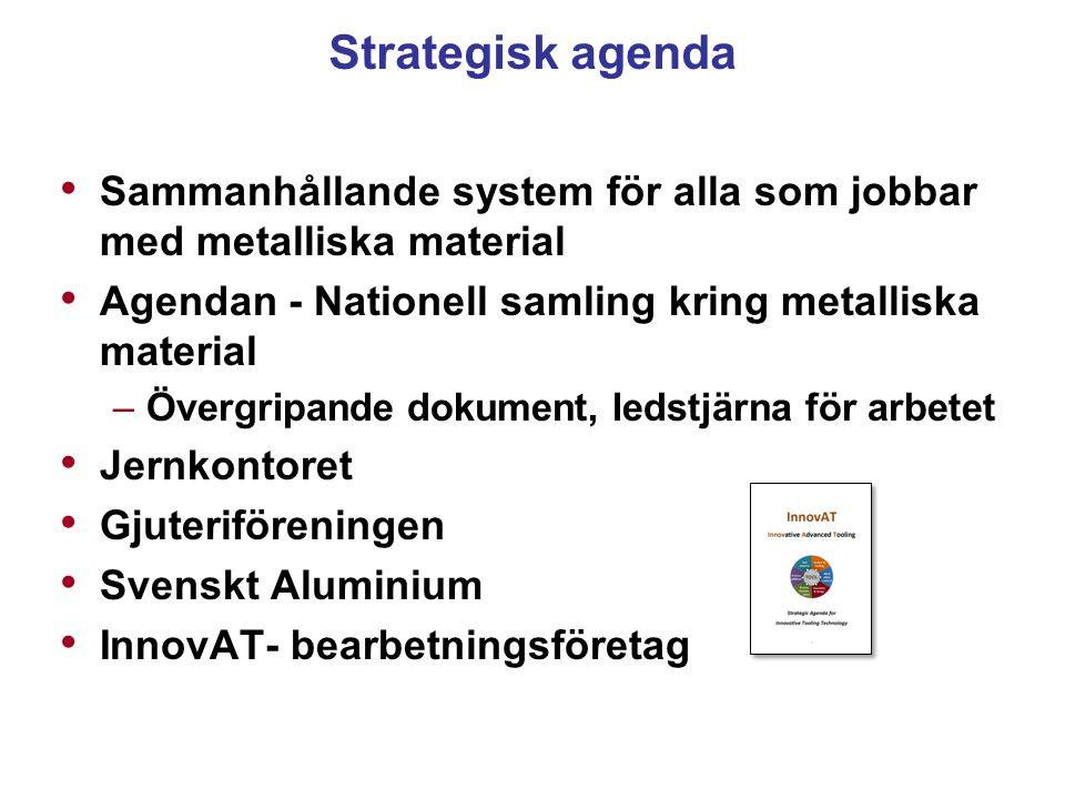 Strategisk agenda Sammanhållande system för alla som jobbar med metalliska material Agendan - Nationell samling kring metalliska material –Övergripand