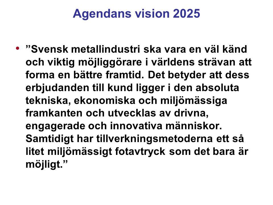 """Agendans vision 2025 """"Svensk metallindustri ska vara en väl känd och viktig möjliggörare i världens strävan att forma en bättre framtid. Det betyder a"""