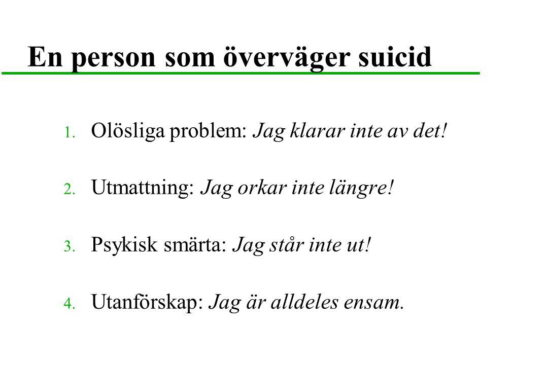 En person som överväger suicid 1. Olösliga problem: Jag klarar inte av det! 2. Utmattning: Jag orkar inte längre! 3. Psykisk smärta: Jag står inte ut!