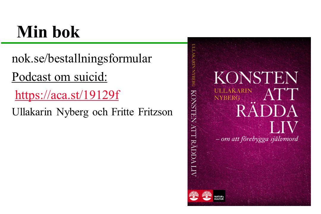 Min bok nok.se/bestallningsformular Podcast om suicid: https://aca.st/19129f Ullakarin Nyberg och Fritte Fritzson