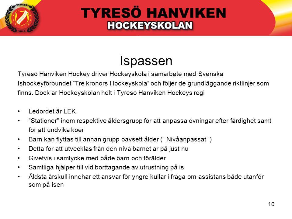 10 Ispassen Tyresö Hanviken Hockey driver Hockeyskola i samarbete med Svenska Ishockeyförbundet Tre kronors Hockeyskola och följer de grundläggande riktlinjer som finns.
