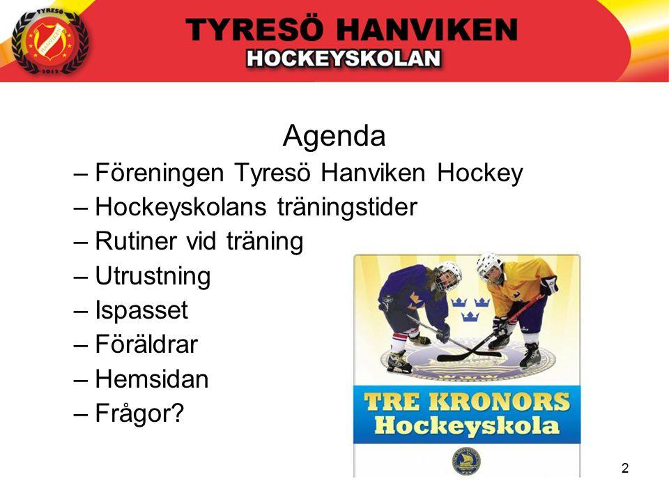2 Agenda –Föreningen Tyresö Hanviken Hockey –Hockeyskolans träningstider –Rutiner vid träning –Utrustning –Ispasset –Föräldrar –Hemsidan –Frågor