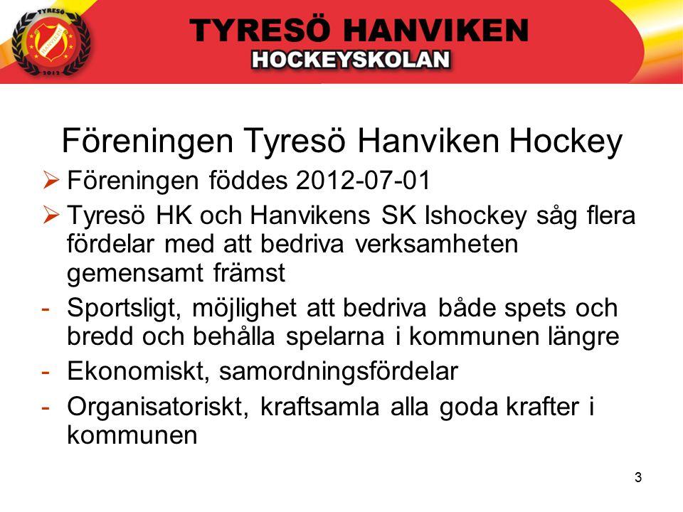 3 Föreningen Tyresö Hanviken Hockey  Föreningen föddes 2012-07-01  Tyresö HK och Hanvikens SK Ishockey såg flera fördelar med att bedriva verksamheten gemensamt främst -Sportsligt, möjlighet att bedriva både spets och bredd och behålla spelarna i kommunen längre -Ekonomiskt, samordningsfördelar -Organisatoriskt, kraftsamla alla goda krafter i kommunen